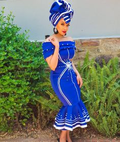If you're looking for the trendiest, beautiful and latest AFRICAN WEDDING DRESSES then you're in for a trending African wedding styles Sesotho Traditional Dresses, Zulu Traditional Attire, South African Traditional Dresses, Traditional Fashion, Traditional Styles, African Wear Dresses, African Wedding Dress, African Attire, Wedding Dresses