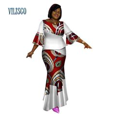 Bazin Riche African Tops and Skirt Sets for Women African Print Dashiki Traditional 2 Piece Skirt Sets Splice Clothing WY2627