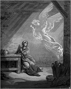 Annunciation - Paul Gustave Dore perhaps have sewing room filled with lovely paintings of women in scripture