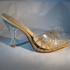 The only lucite heels you'd ever catch me in.     Vintage 1950s Springolator Wedding Shoes Carved by unionmadebride, $125.00