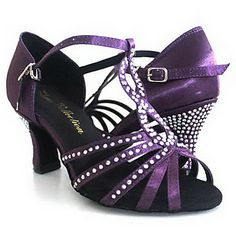 Customized Women's T-Strap Satin Upper Latin / Ballroom Dance Shoes With Rhinestone (More Colors) - USD $ 39.99