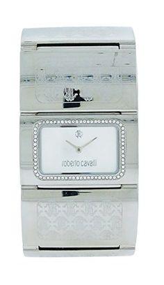 Women's Wrist Watches - Roberto Cavalli R7253117615 Pavon Womens White Stone Rectangular Analog Bracelet Watch >>> Click image to review more details.