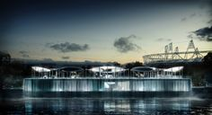 BMW Olympic Pavilion in London will feature a water curtain that will function act as a means of cooling the structure.