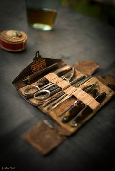 Authentic pocket field kit for a Civil War medic.