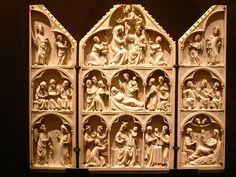 France (Paris).Life of the Virgin Triptych - 1315-1330 - Paris - Ivory - Museu Calouste Gulbenkian. Auteur José Luiz.