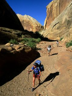 Photo: Hikers on the Hayduke Trail, Halls Creek, Waterpocket Fold, Utah