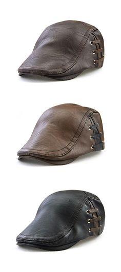 098c3bbab41 Men PU Leather Lace-up Beret Caps Casual Outdoor Winter Warm Windproof Duck  Hats Adjustable Caps