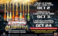Celebrate with San Miguel on its year at Cebu IT Park on October Full packed with brand ambassadors, celebrities and live-band performers! Music Events, Cebu City, October 2, Live Band, Brand Ambassador, Live Music, Beer, Park, Celebrities