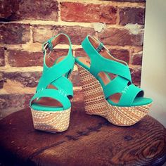 How precious are these sea green wedges?! We are in love! $34.95