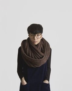 Yokoo scarves are great for winter commutes. So warm and comforting. She is an amazing artist and I always like to see what she will come up with next. The Hoonah Cowl in Walnut Shell by Yokoo on Etsy.