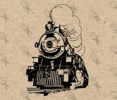 Vintage image Train Locomotive Steam Instant Download Digital printable Black and White retro graphic iron on burlap totes towels etc by UnoPrint on Etsy #hq #png #bw #Ephemera #diy #old #book #illustration #gravure #inspiration #retro #antique #vintage #300dpi #craft #draw #drawing  #black #white #printable #crafts #transfer #decor #hand #digital #collage #scrapbooking #quality