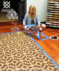 DIY stenciled sisal rug! http://blog.cuttingedgestencils.com/home-decor-stencil-tutorial-diy-designer-rug.html# #stencils #cuttingedgestencils #rugs