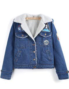 Blue Lapel Long Sleeve Pockets Crop Denim Coat US$45.33