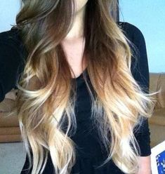 brunette to blonde ombre--