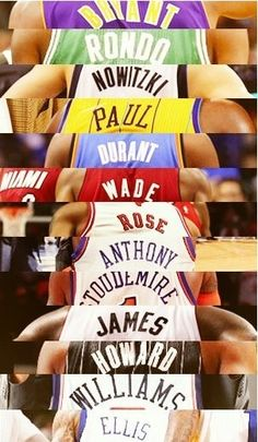 Bryant, Rondo,Nowitziki, Paul, Durant, Wade, Rose, Anthony, Stoudemire, James, Howard, Williams, Ellis.
