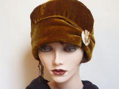 Ladies Gold Velvet Hat by SatzDesigns on Etsy