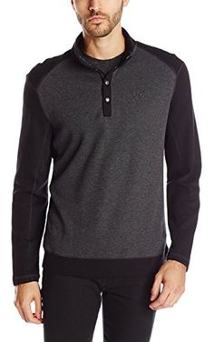 Calvin Klein Men's Long Sleeve Color Block French Rib Pull Over with Snaps,  Black,  Medium ❤ Calvin Klein Men's Collections