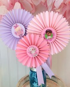 Doc McStuffins Party Centerpiece, Decorated Paper Rosettes for Dessert Table or Candy Buffet at Doc McStuffins Birthday, Purple and Pink