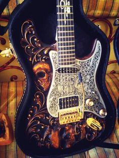Custom stratocaster guitar | Hand Carved Skull | Seymour | Reverb