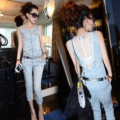 Best Denim Overall Sexy Lace Women Ladies Elegant Backless Mesh Jeans Jumpsuit Clothing Summer 2014 Monos for Women Playsuit X 510 Online with $16.03/Piece | DHgate