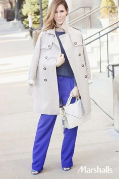 Style tip! Don't be afraid of bold colors. Pair a long neutral jacket with vibrant blue hues.