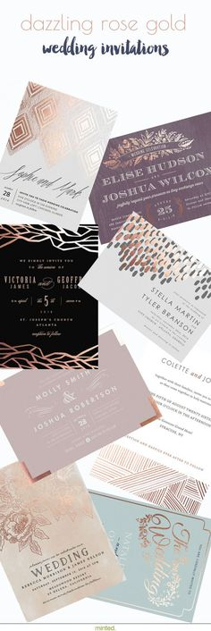 Dazzling rose gold wedding invitation accents will set the tone for your special day.