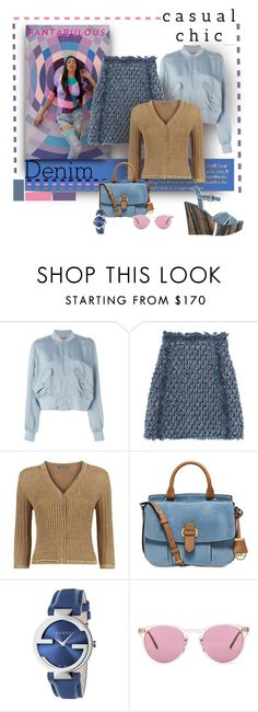 """Psyched Out Denim"" by michelletheaflack ❤ liked on Polyvore featuring MM6 Maison Margiela, Sonia Rykiel, Haute Hippie, Alberta Ferretti, MICHAEL Michael Kors, Gucci, Oliver Peoples, Barbara Bui, Denimondenim and polyvorecontests"