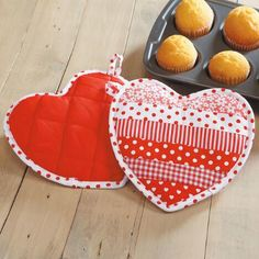 Bring Valentine's Day to the kitchen with these pretty heart-shaped hot pads. Valentine's Day 2018, Current Catalog, Hot Pads, Spring Crafts, Heart Shapes, Valentines Day, Quilts, Sweet, Sewing