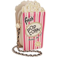 Betsey Johnson Popcorn Crossbody ($88) ❤ liked on Polyvore featuring bags, handbags, shoulder bags, multi, betsey johnson purses, pink cross body purse, crossbody purse, betsey johnson handbags and chain shoulder bag