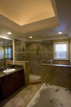 Sacramento Bathroom Remodel: Folsom, CA - Tuscan style bathroom with radius ceiling.