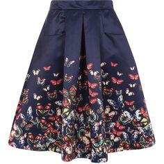 Jolie Moi Butterfly Print Skirt ($36) ❤ liked on Polyvore featuring skirts, blue, navy blue skirt, open back skirt, navy blue a line skirt, blue skirt et knee length a line skirt