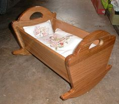 Child's WOODEN Rocker ROCKING CHAIR w/Baby DOLL CRADLE