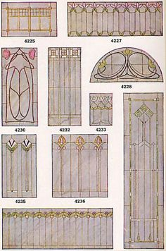 Stained glass designs, 1910's - some are very Art Nouveau-ish.