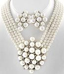 Pearl Multi Row Necklace & Earrings