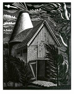 """""""Wind Storm"""" by Eric Ravilious (wood engraving)"""