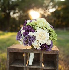 Silk Bridal Bouquet - Custom Made Wedding Bouquet - Purple and Green Dahlia and Berry Bouquet on Etsy, £90.45