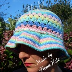 Candy Stripes Crochet Cloche Hat by madebyFionaKate on Etsy