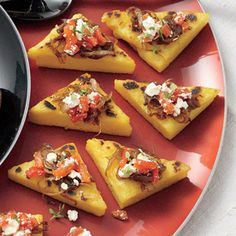 Polenta Toasts with Balsamic Onions, Roasted Peppers, Feta, and Thyme Recipe | MyRecipes.com