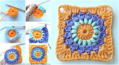 Crochet Square With Flower
