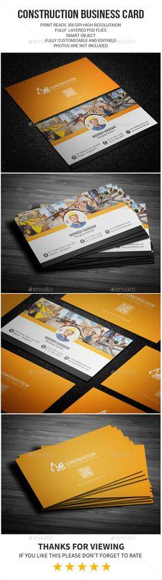 Construction Business Card Template PSD #design Download: http://graphicriver.net/item/-construction-business-card/13418221?ref=ksioks