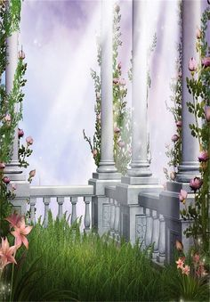 Enchanted Castle Column Pink Flower Green Grass Outdoor Photography Backdrops Seamless Photo Backgrounds for Romantic Wedding Studio Props Photography Studio Background, Studio Background Images, Background Hd Wallpaper, Free Desktop Wallpaper, Photography Backdrops, Flower Wallpaper, Windows Wallpaper, Wallpapers, Wallpaper Downloads