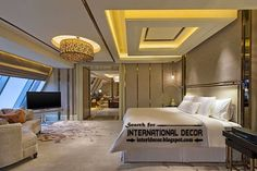 Modern pop false ceiling designs for luxury bedroom 2015, bedroom ceiling lighting ideas