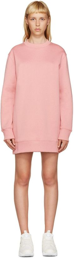 Acne Studios - Pink Fleece Carola Pullover Dress Acne Studios, Crew Neck,  Rib Knit 55627e6a301