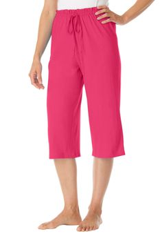 These capri sleep pants mix and match perfectly with our other sleep separates. They are comfortable, effortless and roomy. Woman Within offers the best price and fit in plus size sleepwear.  capris with wide, roomy legs capris 17' inseam, falls just below the knee easy elastic waist drawstring for added fit and comfort cute patterns and solids for every persons style washable cotton knit; imported keep cool and comfy in a silky panty pair with a set of soft slippers  Women's sleep sets in…