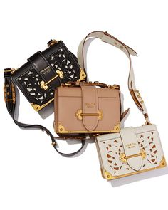 6679cb2733e9 Prada Cahier Leather Shoulder Bag