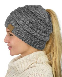 866281c63ab C.C BeanieTail Soft Stretch Cable Knit Messy High Bun Ponytail Beanie Hat  Gra...  fashion  clothing  shoes  accessories  womensaccessories  hats  (ebay link)