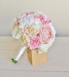Silk Bridal Bouquet Roses Peonies NEW 2014 Design by braggingbags, $89.99