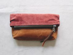 "Super soft coloured leather on leather make this the perfect clutch or luxury cosmetic bag...~ 9.5"" x 10.5"" ~ super soft pink suede~ Scout"