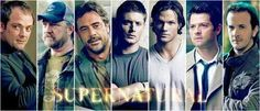 Supernatural. Crowly, Bobby, John, Dean, Sam, Castiel, and Gabriel.