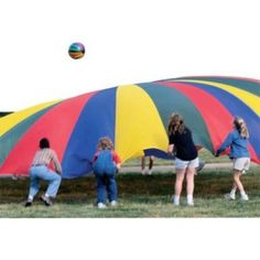 Large Nylon Parachutes by Abilitations. $218.82. Comes in 6' Parachute (8 Handles, 19 Ft Circumference) and 24' Parachute (22 Handles, 75.5 Ft Circumference) sizes. Made of sturdy nylon.. Sturdy brightly colored nylon parachutes with storage bag are great for company picnic games. For indoor use or small events and for outdoor use or larger events. Check out the book, Parachutes Games for ideas!_x000D_ _x000D_ Comes in:_x000D_ 24' Parachute (22 Handles, 75.5 Ft Circumfere...